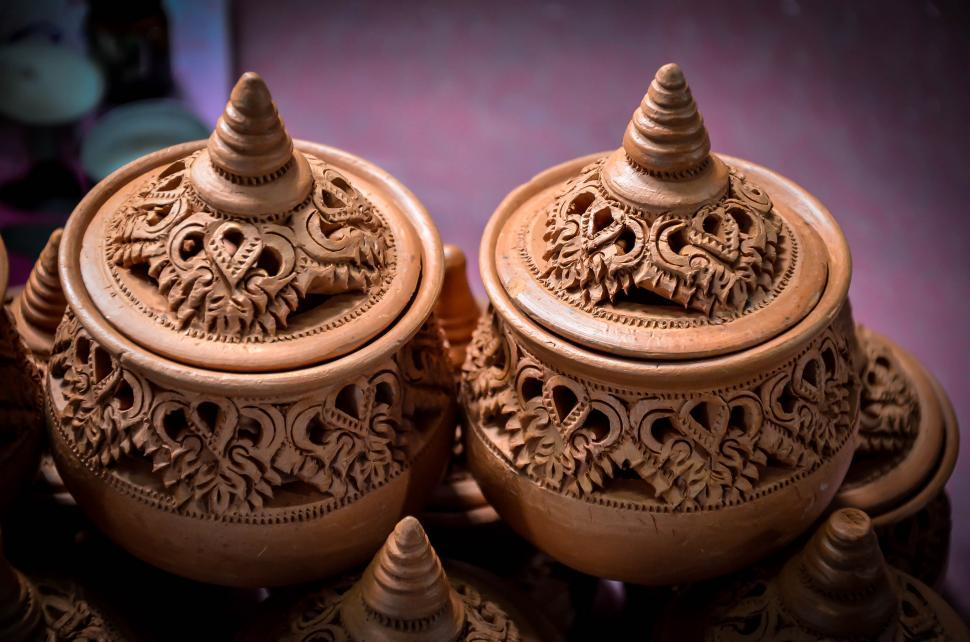 Download Free Stock HD Photo of Thai Pottery Style - Two Pots Online
