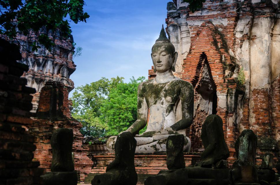 Download Free Stock HD Photo of Buddha Statue in Masonry Temple Online