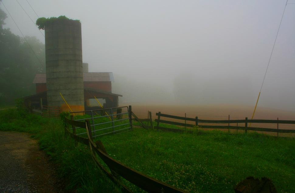 Download Free Stock HD Photo of Farm silo on a misty morning  Online