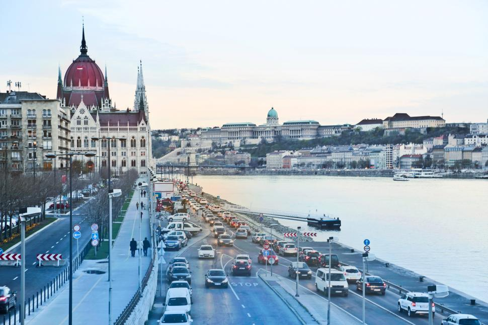 Download Free Stock HD Photo of Side View Of Hungarian Parliament Building with Danube River, Bu Online