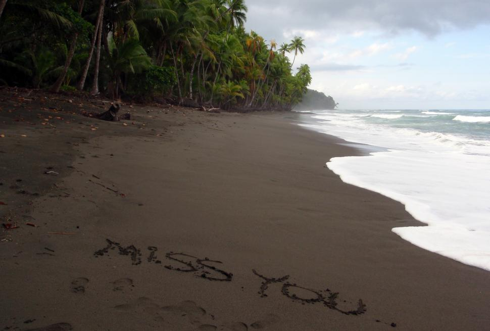 Download Free Stock HD Photo of  Miss You  written in the sand Online