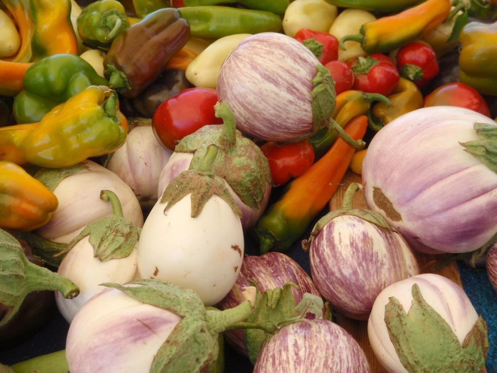 Download Free Stock HD Photo of Eggplants and peppers Online