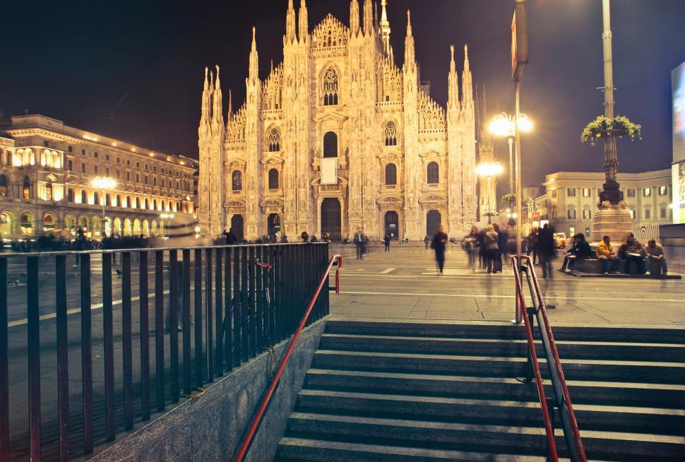 Download Free Stock HD Photo of Night View of Milan Cathedral Online