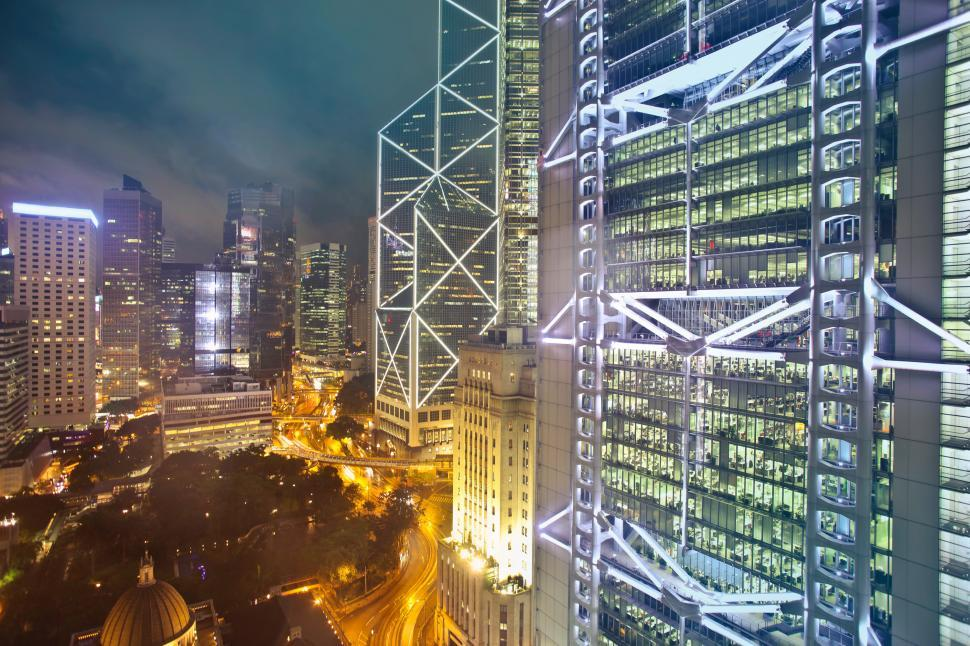 Download Free Stock HD Photo of High rise glass buildings during night time Online