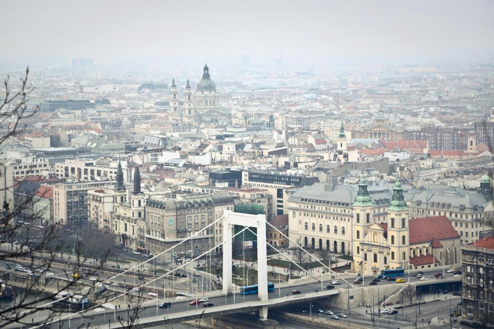 Download Free Stock HD Photo of Aerial View Of Elisabeth Bridge and Budapest, Hungary Online