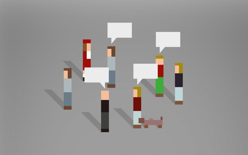 Download Free Stock HD Photo of Abstract Pixelated People Speaking With Each Other Online