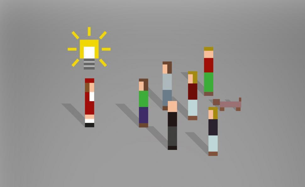 Download Free Stock HD Photo of Having Ideas - Leadership - Pixel People Online