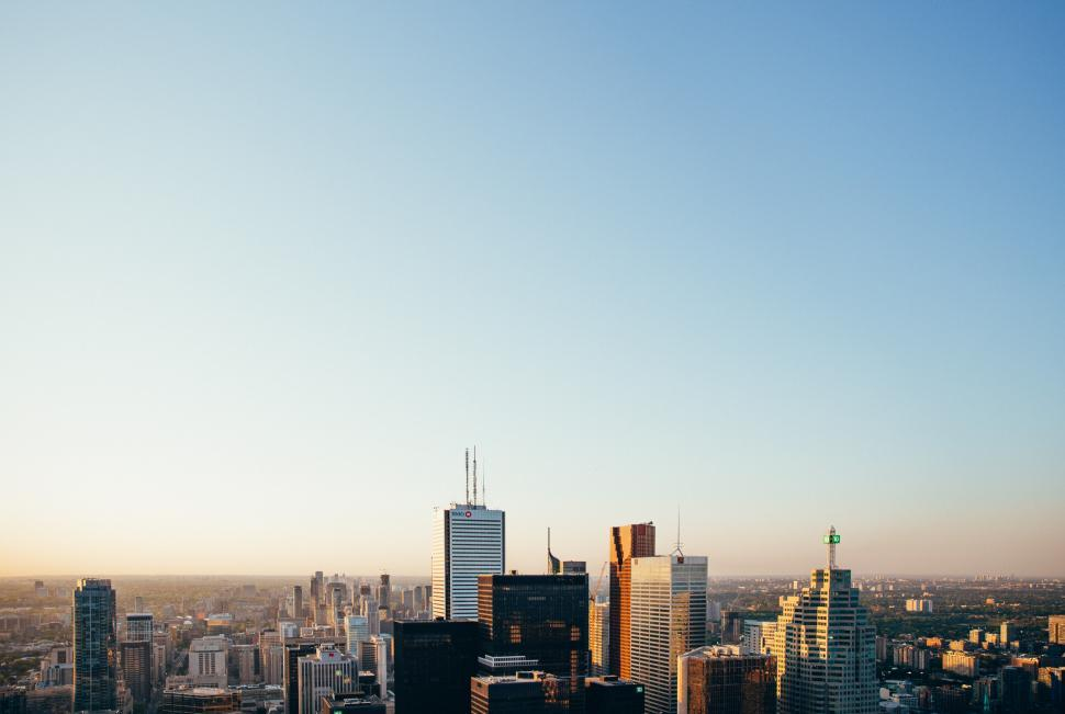 Download Free Stock HD Photo of City skyscrapers in the morning Online