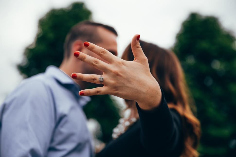 Download Free Stock HD Photo of Engagement ring flaunted by a young caucasian couple Online
