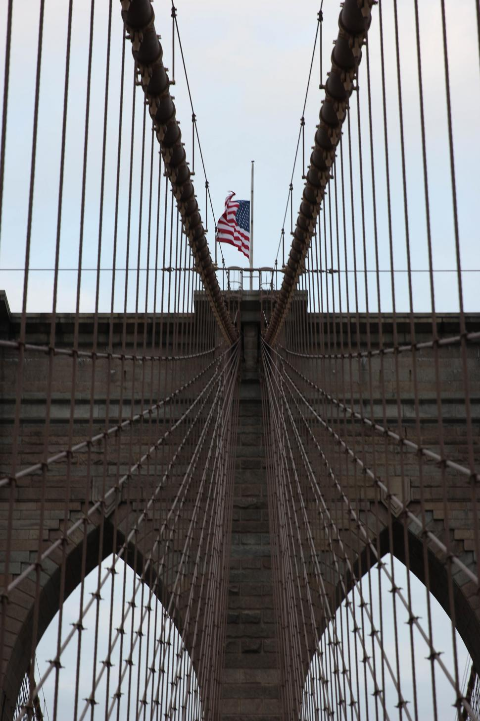 Download Free Stock HD Photo of American flag on a suspension bridge Online