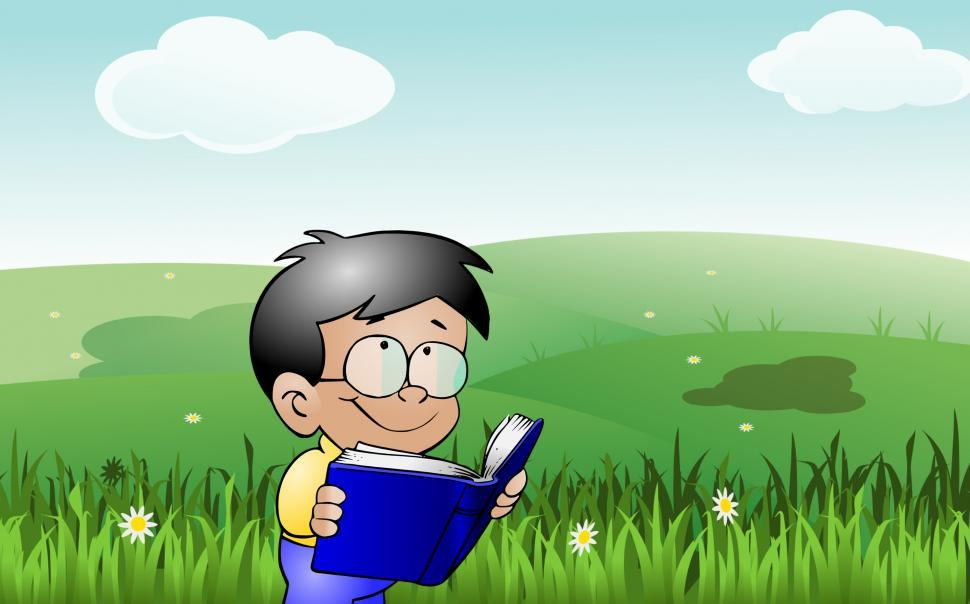 Download Free Stock HD Photo of kid reading outdoor  Online