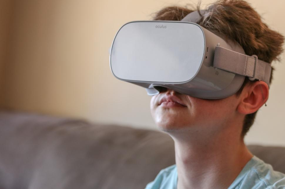 Download Free Stock HD Photo of Boy wearing VR headset Online