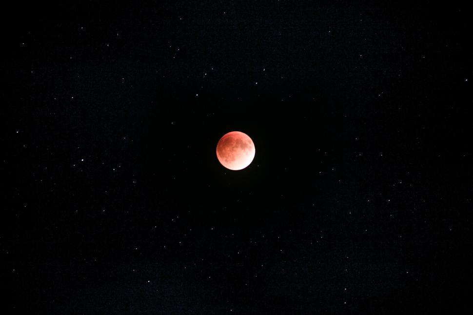 Download Free Stock HD Photo of Red moon and star Online