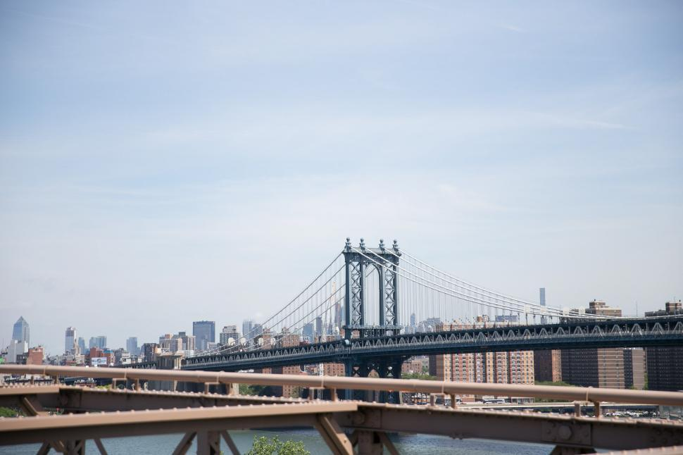 Download Free Stock HD Photo of The Manhattan Bridge over the East River in New York City Online