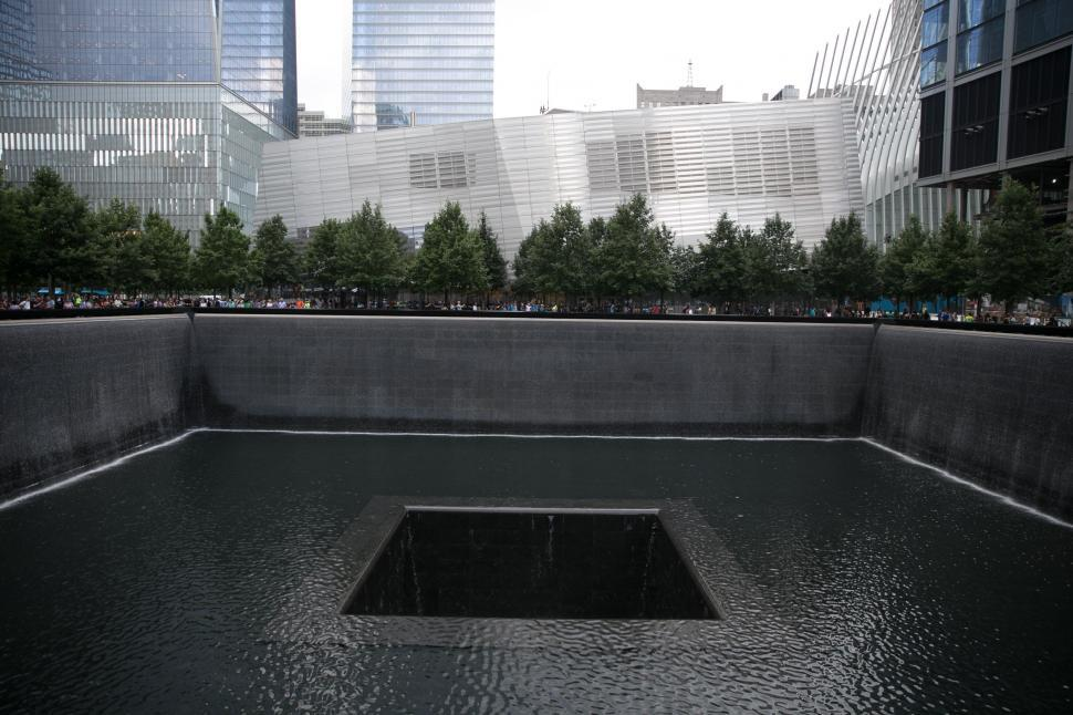 Download Free Stock HD Photo of Close up of fountain at September 11 Memorial & Museum Online