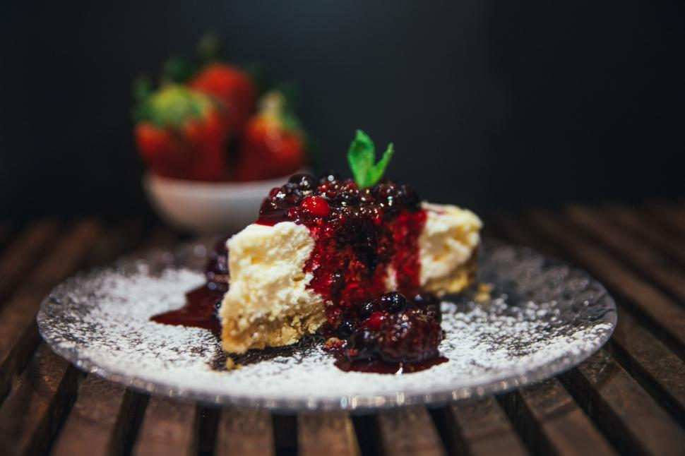 Download Free Stock HD Photo of Strawberries and cheesecake Online