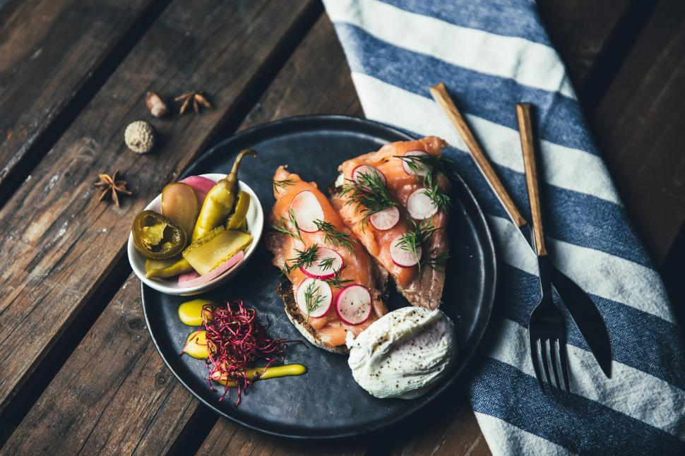 Download Free Stock HD Photo of Plated smoked salmon with pickles and sour cream Online