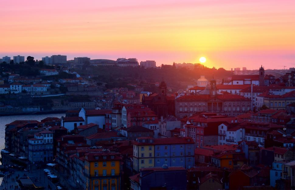 Download Free Stock HD Photo of Sunset - Porto - Old Town - Ribeira - Northern Portugal Online