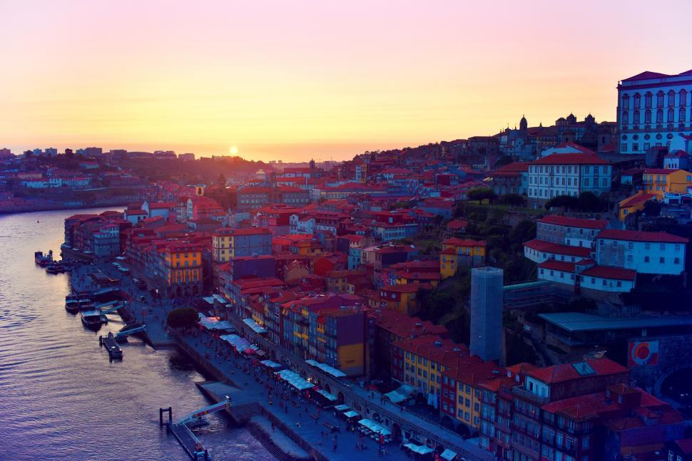 Download Free Stock HD Photo of Sunset - Porto - Old Town From Bridge - Northern Portugal Online