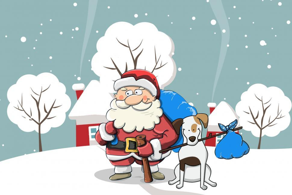 Download Free Stock HD Photo of Santa and dog   Online