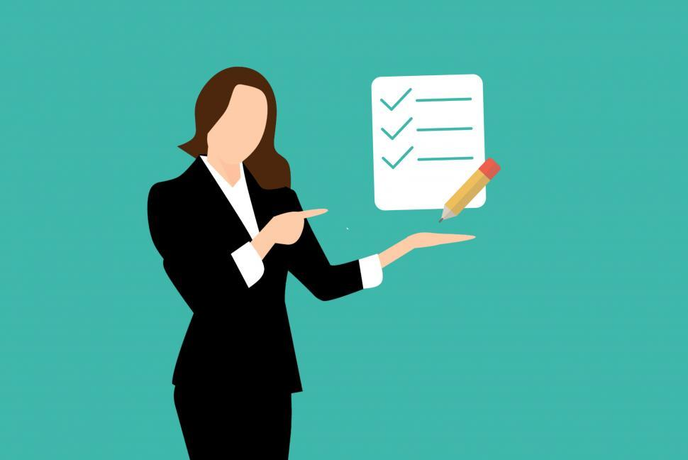Download Free Stock HD Photo of woman showing checklist  Online