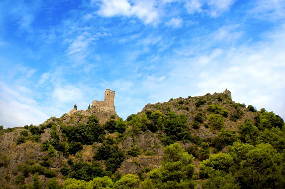Download Free Stock HD Photo of Chateaux de Lastours from Afar - Famous Cathar Castle Online