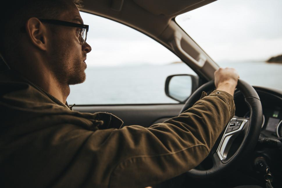 Download Free Stock HD Photo of Interior of a car driven by a Caucasian man Online