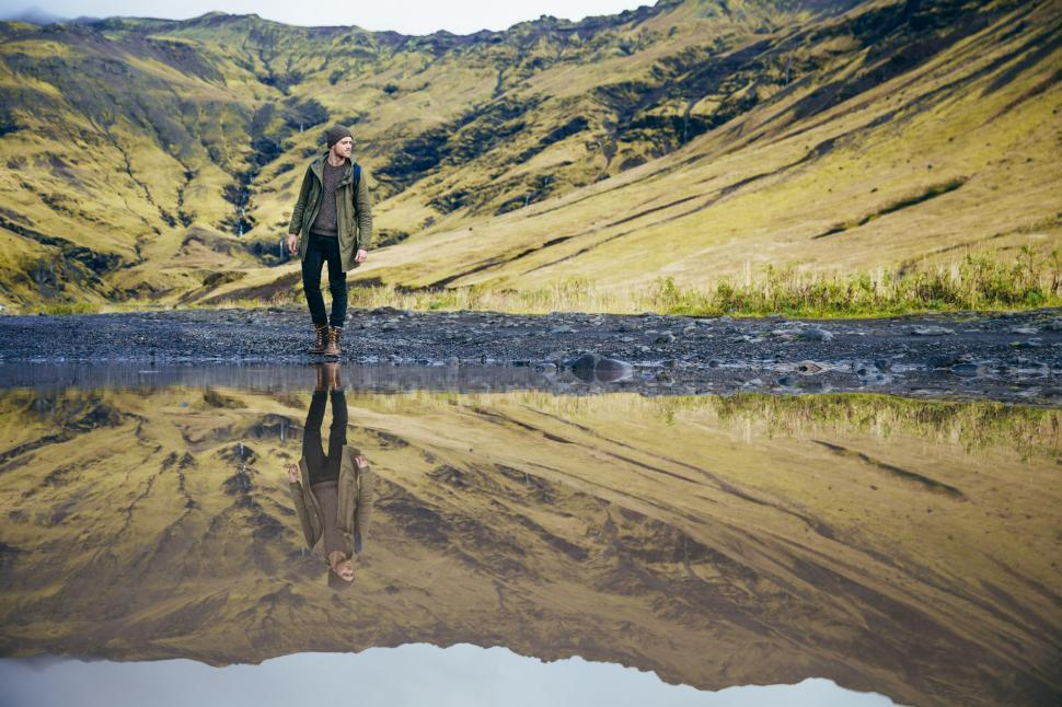 Download Free Stock HD Photo of Hiker s reflection in the lake Online
