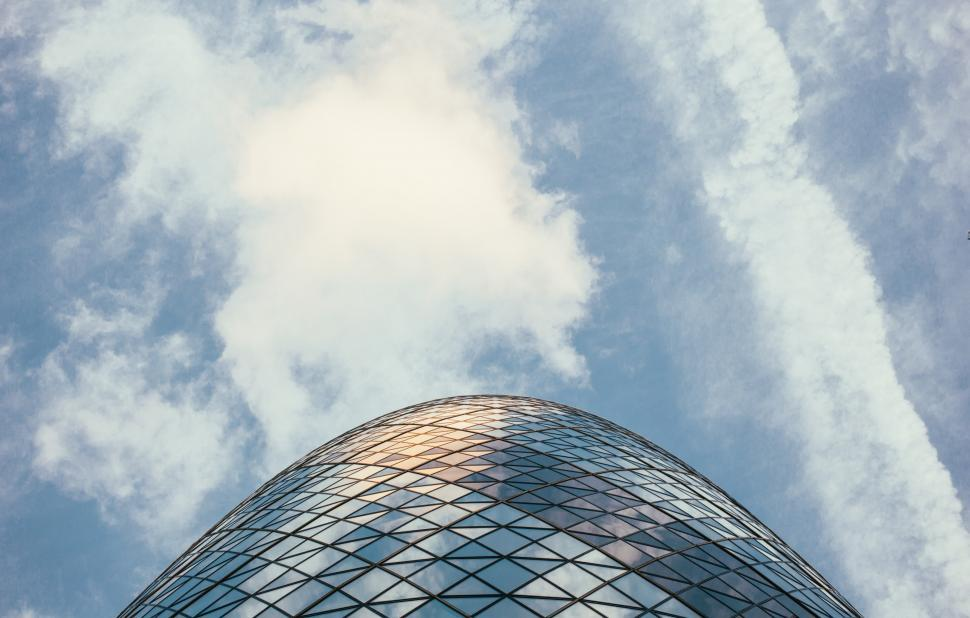 Download Free Stock HD Photo of View of Gherkin Tower 30 St Mary Axe in London from the ground Online