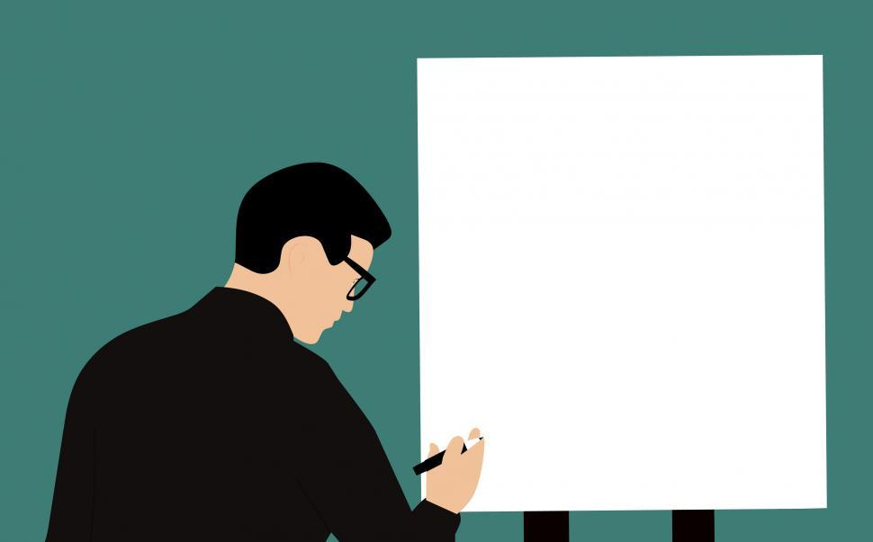 get free stock photos of man writing on white board online