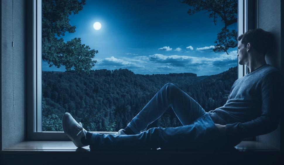 Download Free Stock HD Photo of night thinking  Online