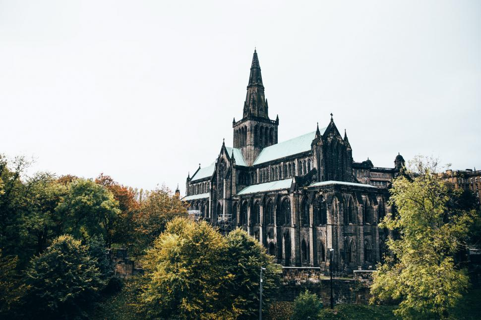 Download Free Stock HD Photo of Glasgow cathedral surrounded by trees Online