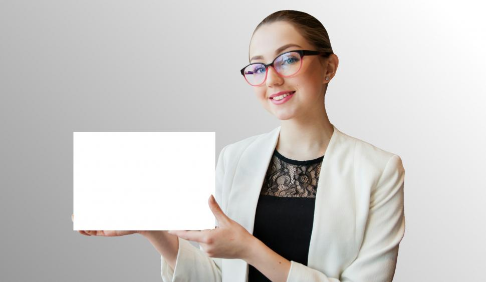 Download Free Stock HD Photo of woman holding whiteboard  Online