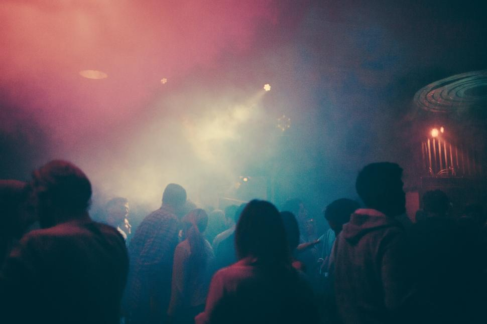 Download Free Stock HD Photo of A foggy dance club Online