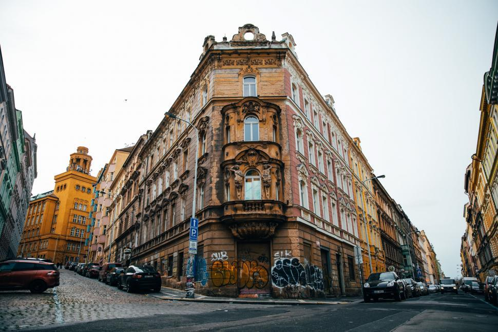Download Free Stock HD Photo of An old corner building in Prague Online