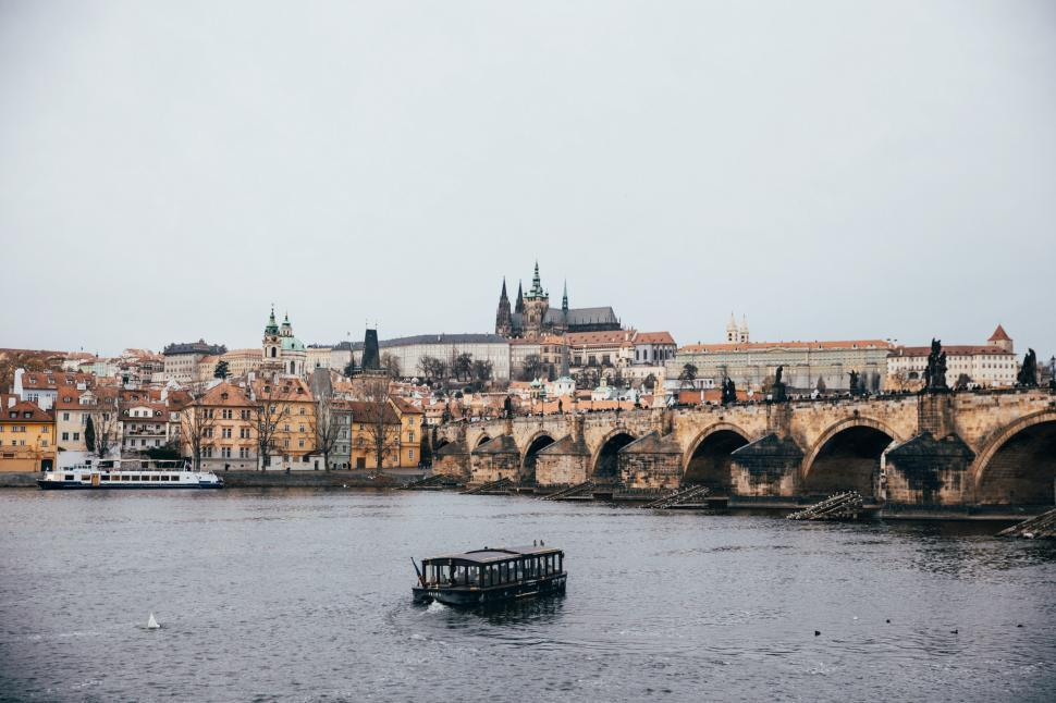 Download Free Stock HD Photo of A panoaramic view of Vitava river in Czech Republic Online