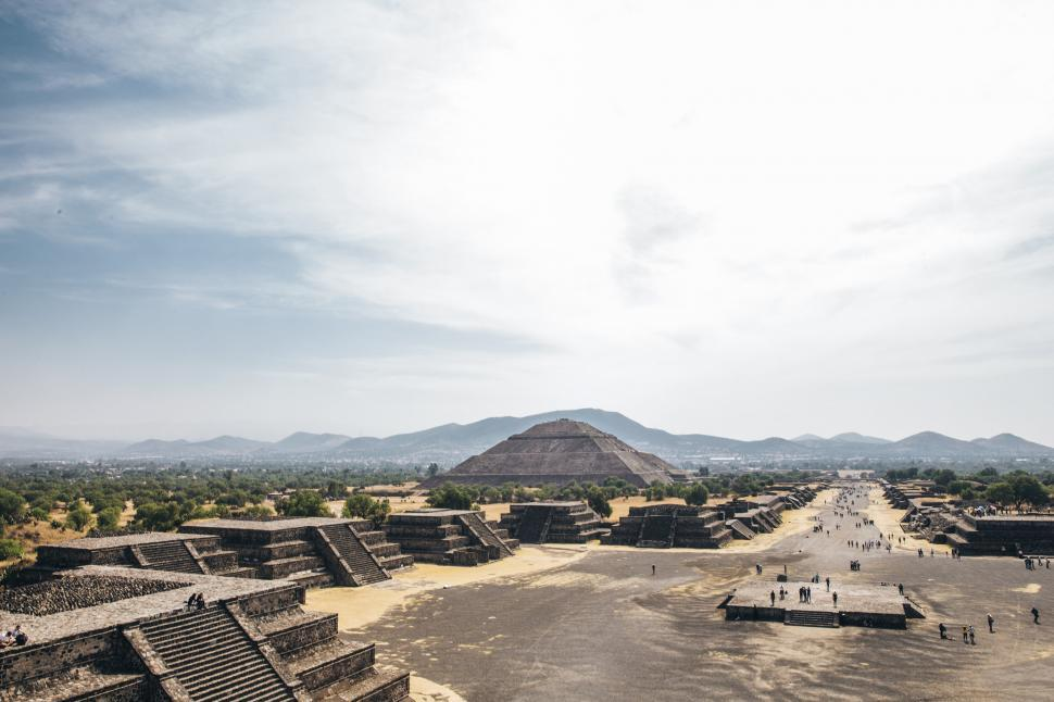 Download Free Stock HD Photo of Teotihuacan pyramids and Tourists, Mexico Online