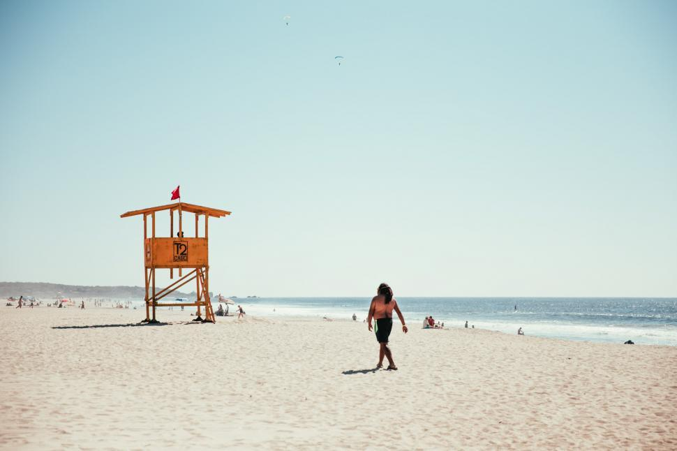 Download Free Stock HD Photo of A lifeguard tower on the beach Online
