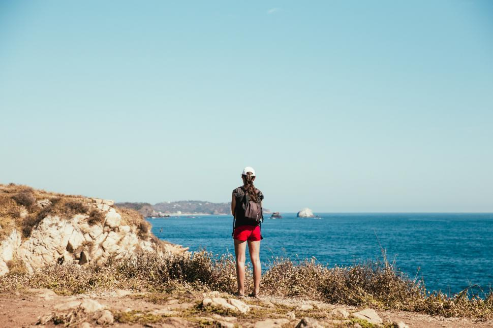 Download Free Stock HD Photo of A young caucasion hiker on the beach in mexico Online