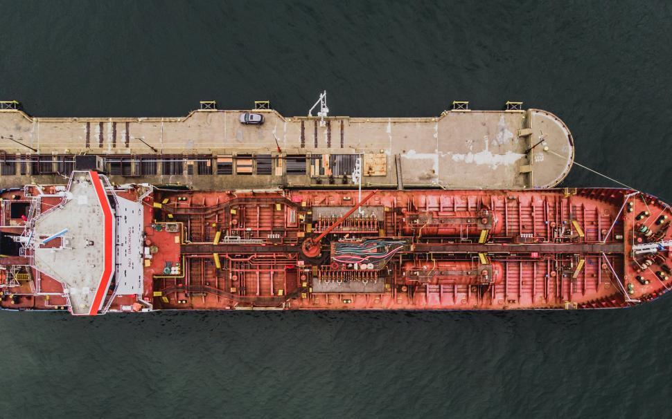 Download Free Stock HD Photo of Aerial view of bough of a ship docked at the port Online