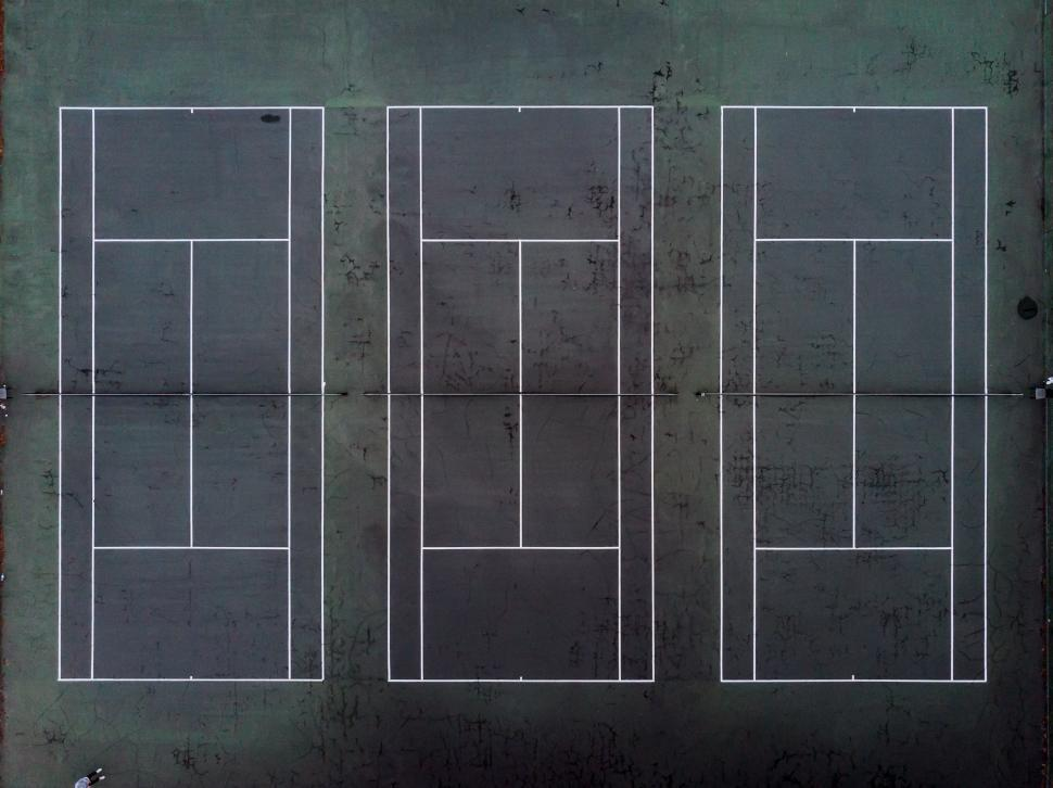 Download Free Stock HD Photo of Aerial view of three tennis courts Online