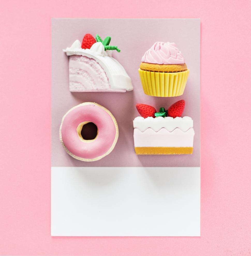 Download Free Stock HD Photo of Flay lay of cake, cupcake, doughnut and pastry on a card Online