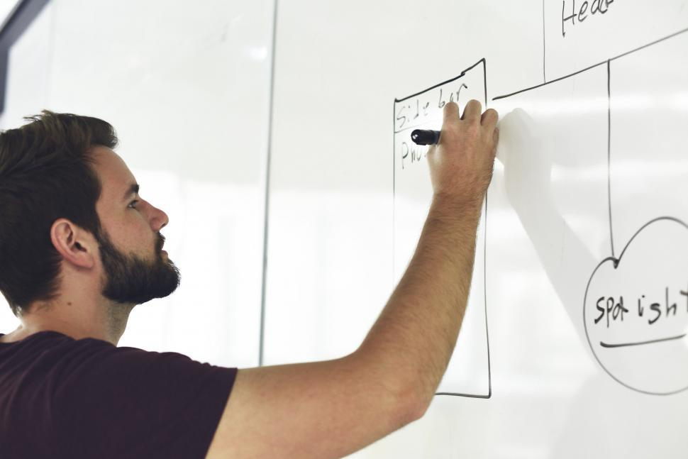 Download Free Stock HD Photo of A bearded young man creating a flow chart on white board Online