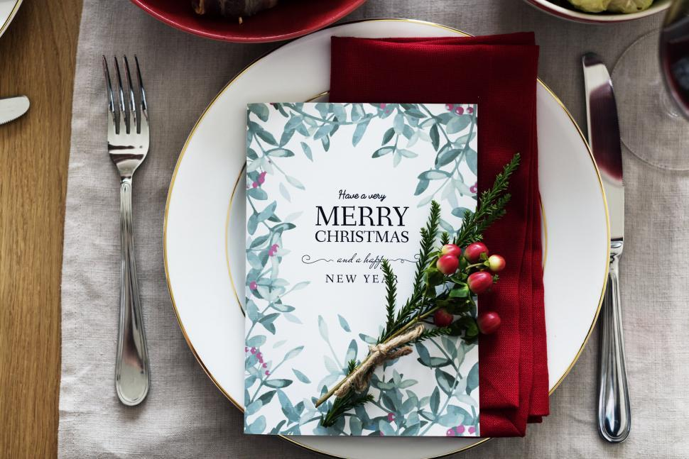Download Free Stock HD Photo of Close up of a greetings card on a plate Online