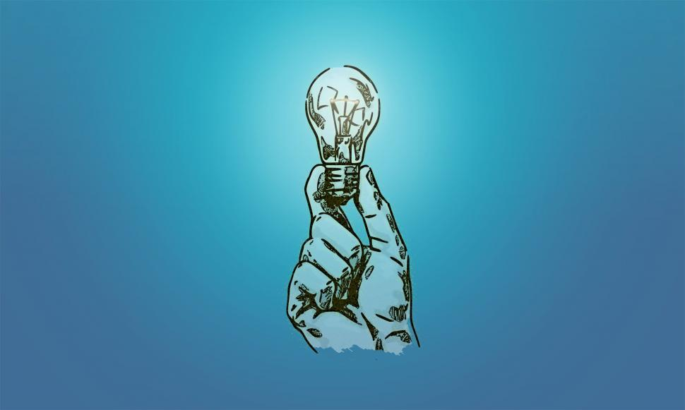 Download Free Stock HD Photo of Hand Holding Light Bulb - Drawing  Online