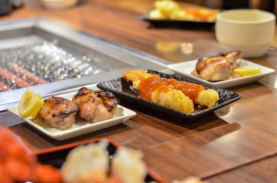Download Free Stock HD Photo of Plates at Buffet in Japanese Restaurant  Online
