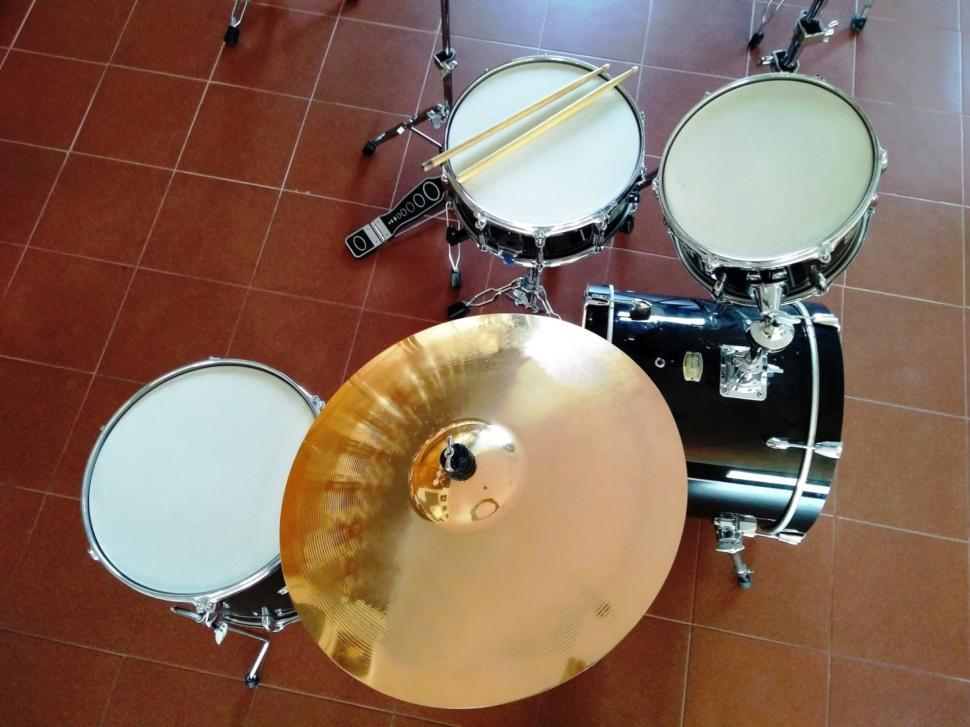 Download Free Stock HD Photo of Above view of a drum kit  Online