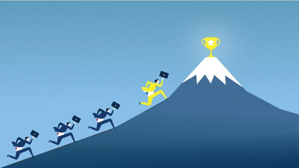 Download Free Stock HD Photo of Businessmen Climbing Mountain - Trophy  Online