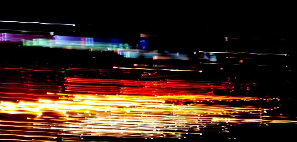 Download Free Stock HD Photo of Abstract image of night light trails in the city with motion blur  Online