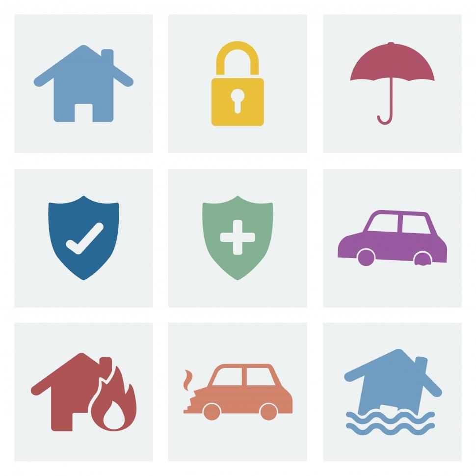 Download Free Stock HD Photo of A collection of various insurance icons Online